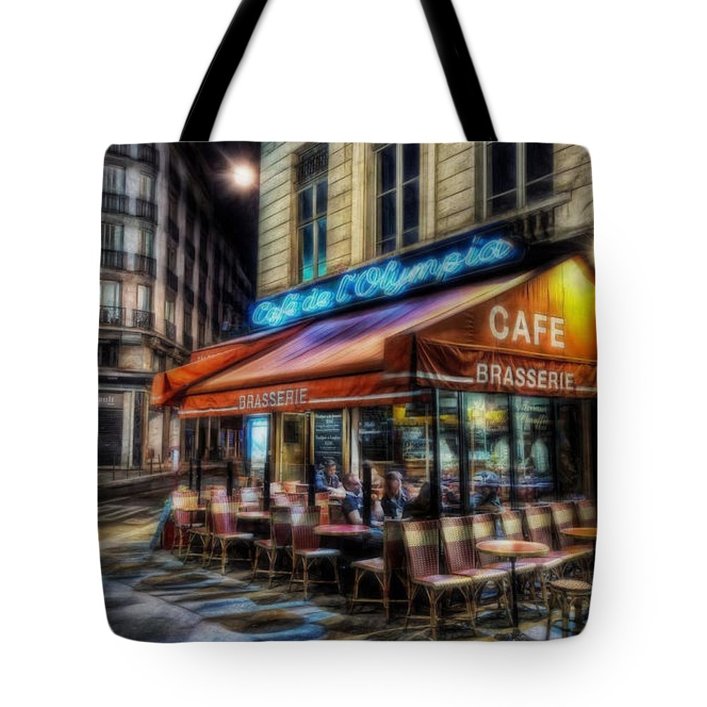 Paris Tote Bag featuring the mixed media Paris Cafe by Marvin Blaine