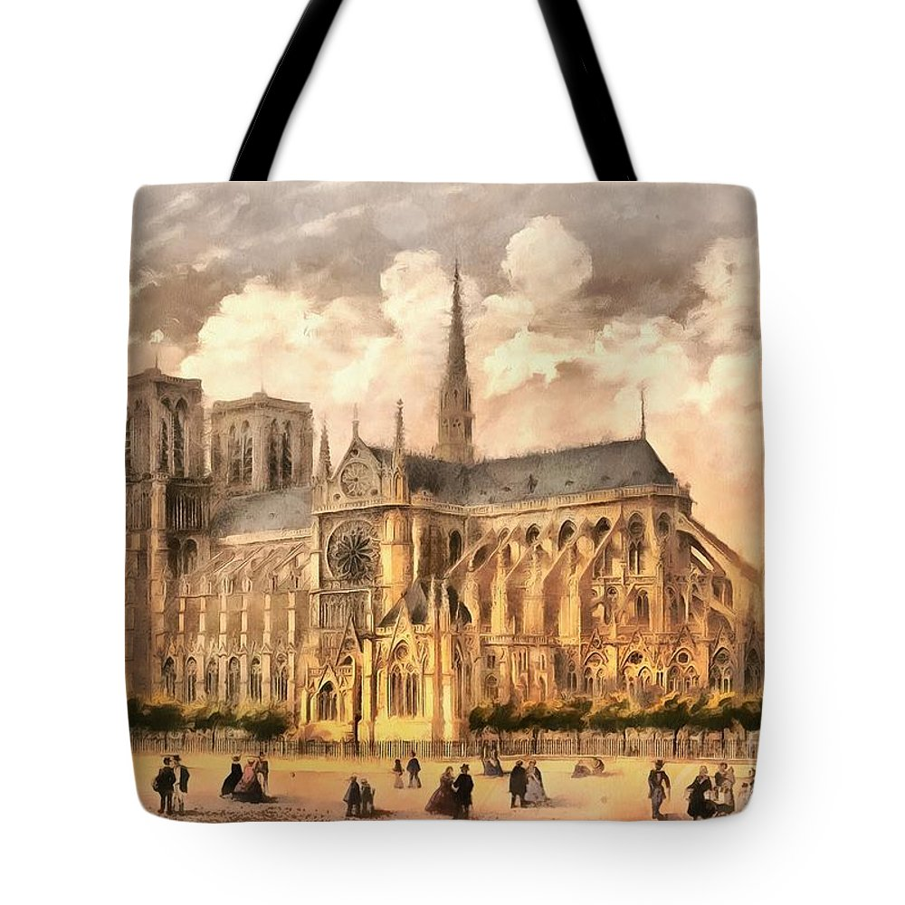 Paris Tote Bag featuring the photograph Paris Notre Dame Cathedral France by Edward Fielding