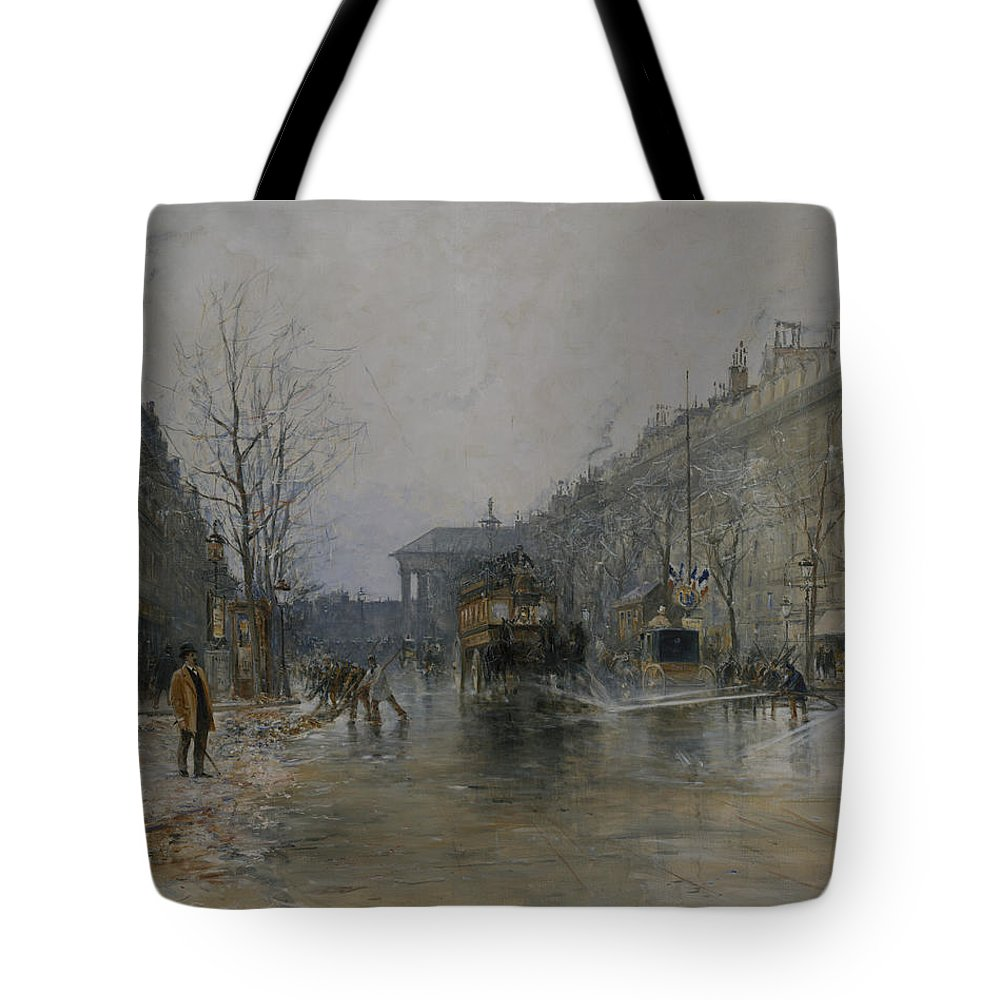 Frank Myers Boggs Tote Bag featuring the painting Paris Street Scene by Frank Myers Boggs