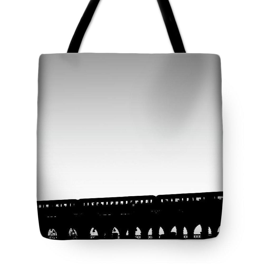 Passenger Train Tote Bag featuring the photograph Paris Urban Metro Commuter Train by Bunhill