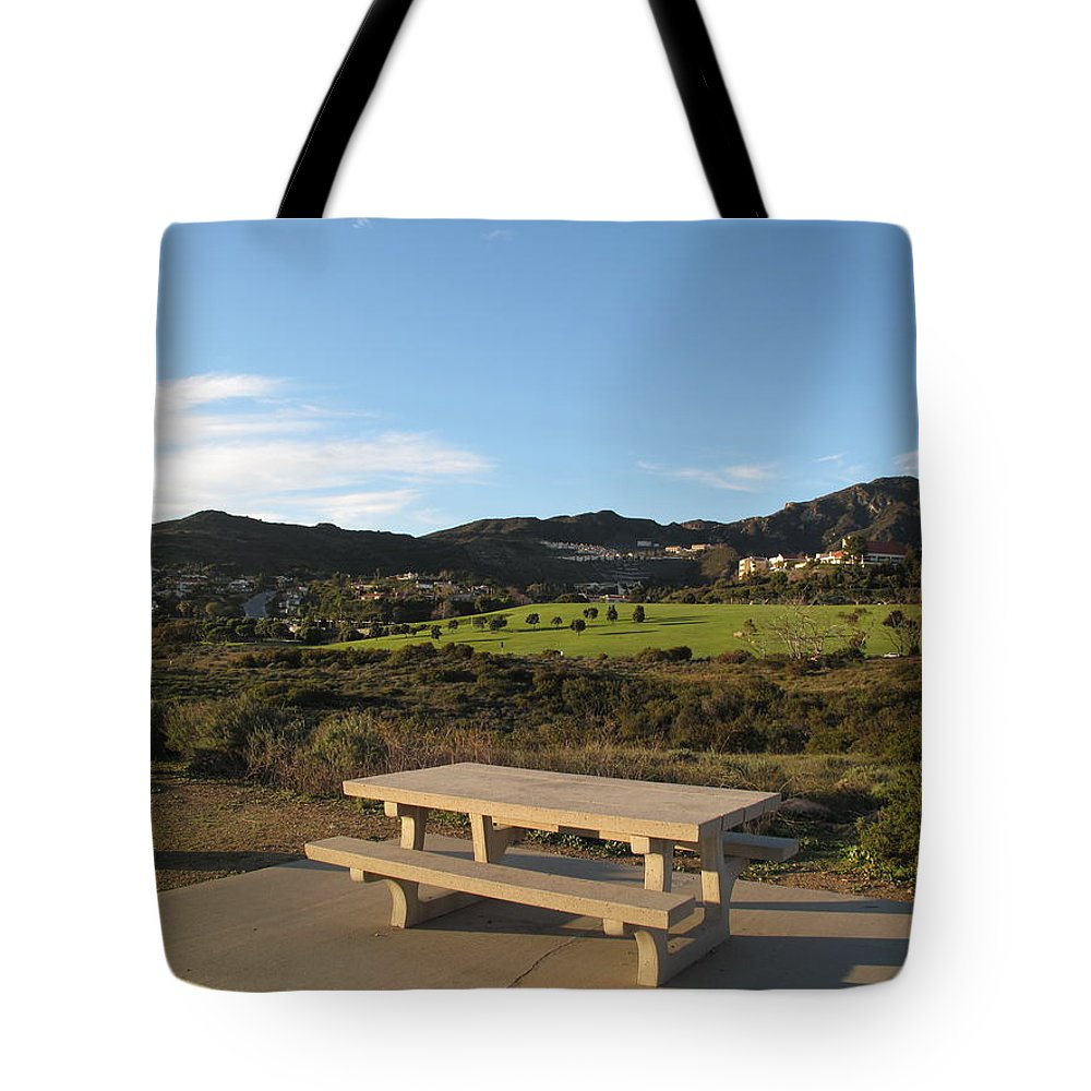 Tranquility Tote Bag featuring the photograph Park Bench In Malibu by Marianna Sulic