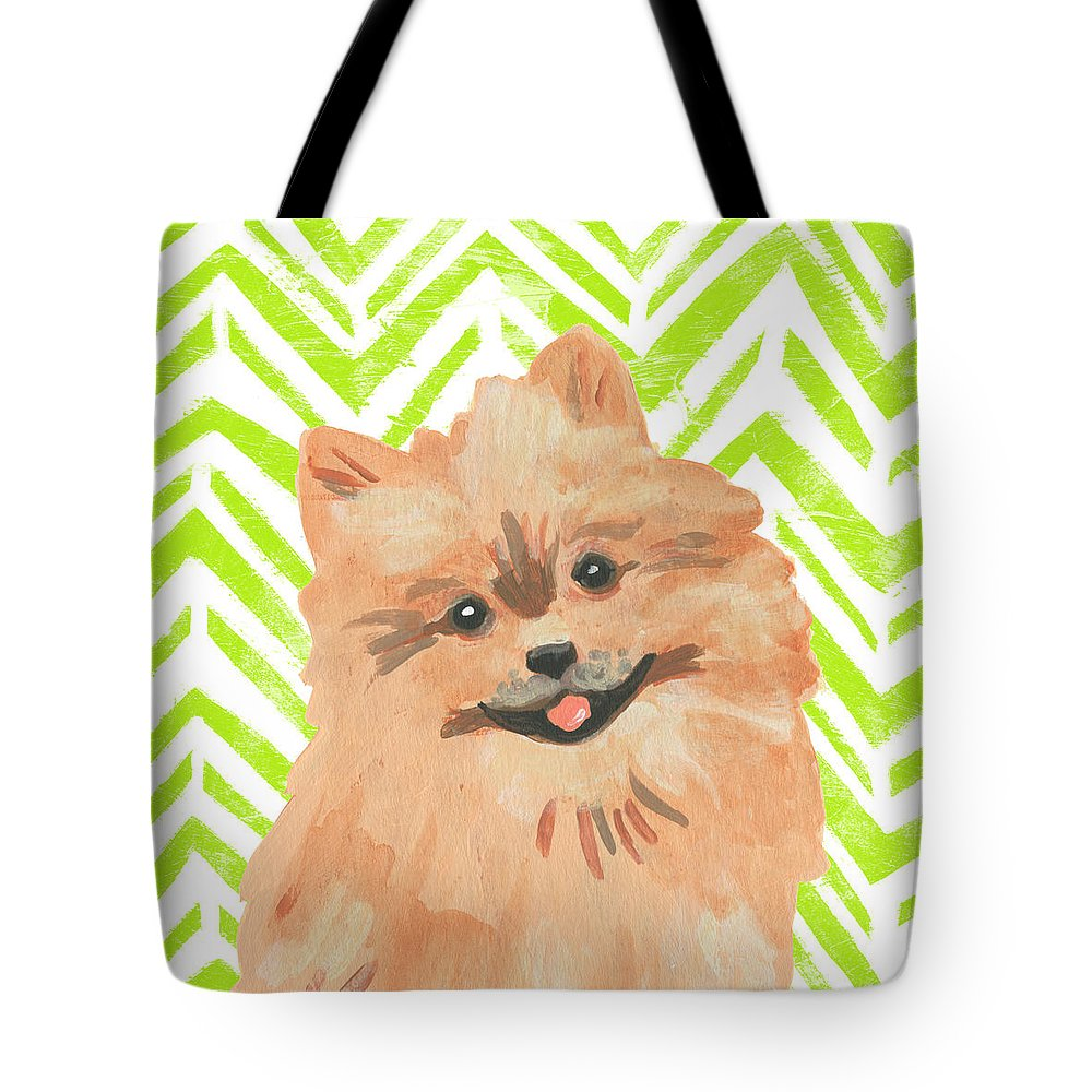 Pets+dogs Tote Bag featuring the painting Parlor Pooches Iv by June Erica Vess