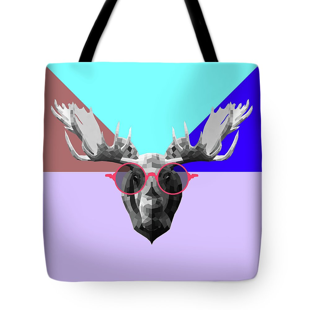 Moose Tote Bag featuring the digital art Party Moose In Glasses by Naxart Studio
