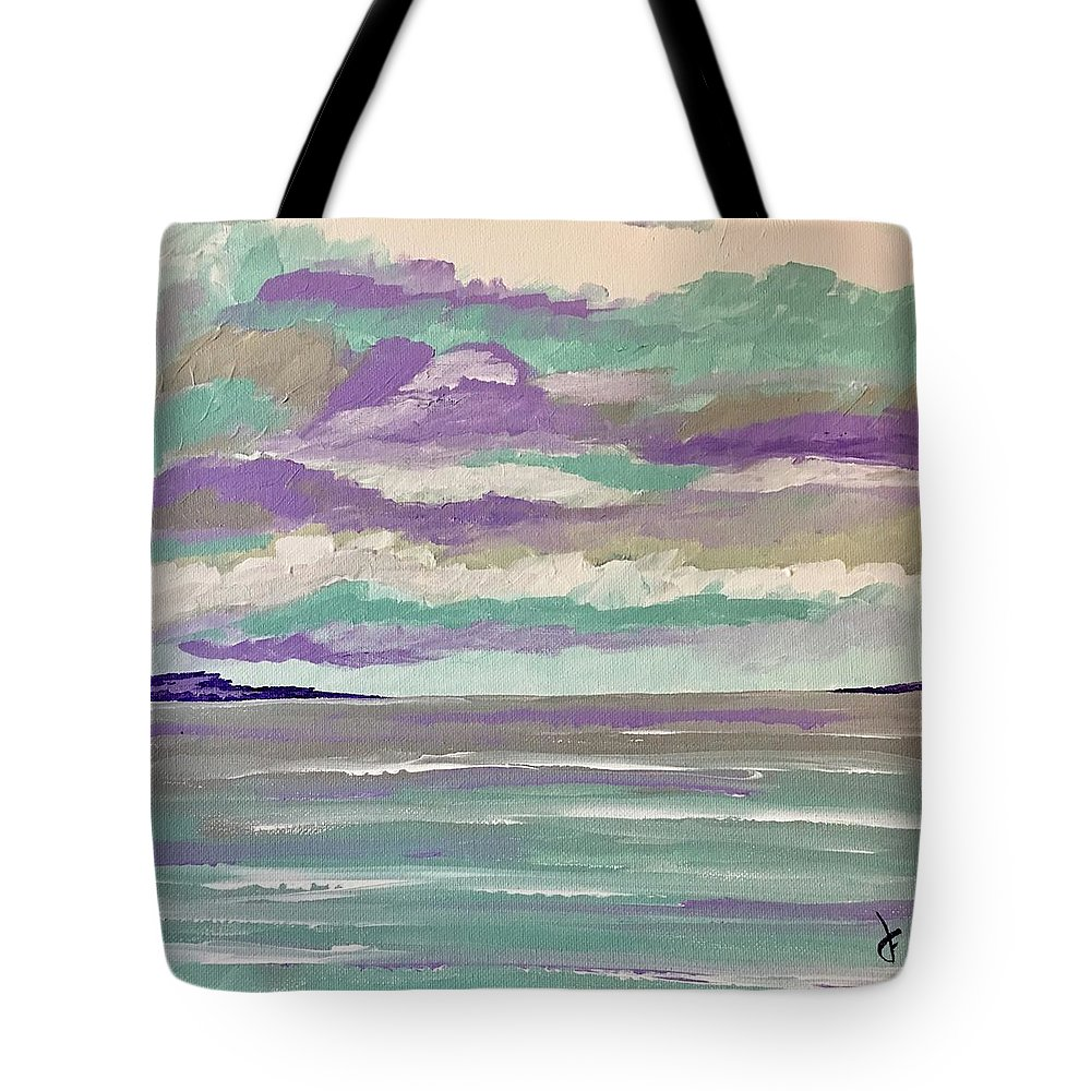 Seascape Tote Bag featuring the painting Pastel Night by Danielle Fry