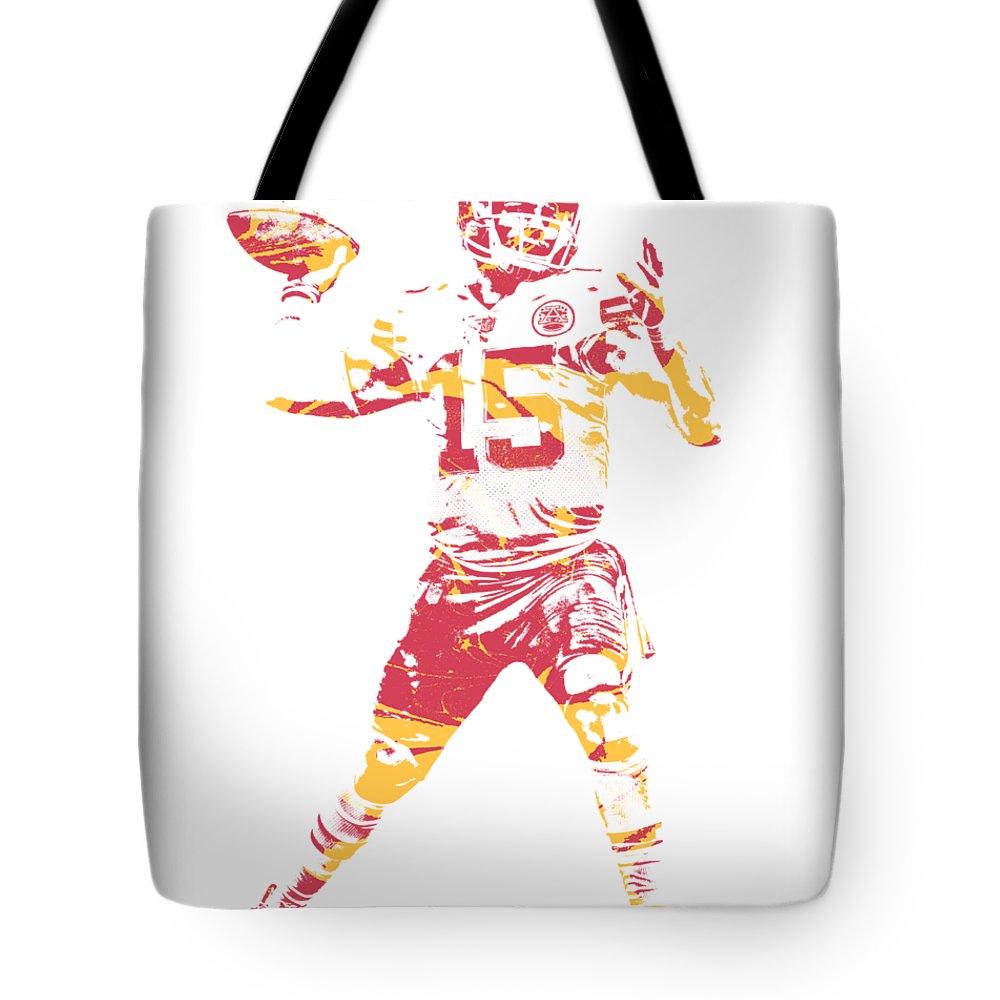 Patrick Mahomes Chiefs Tote Bag featuring the mixed media Patrick Mahomes Kansas City Chiefs Apparel T Shirt Pixel Art 1 by Joe Hamilton