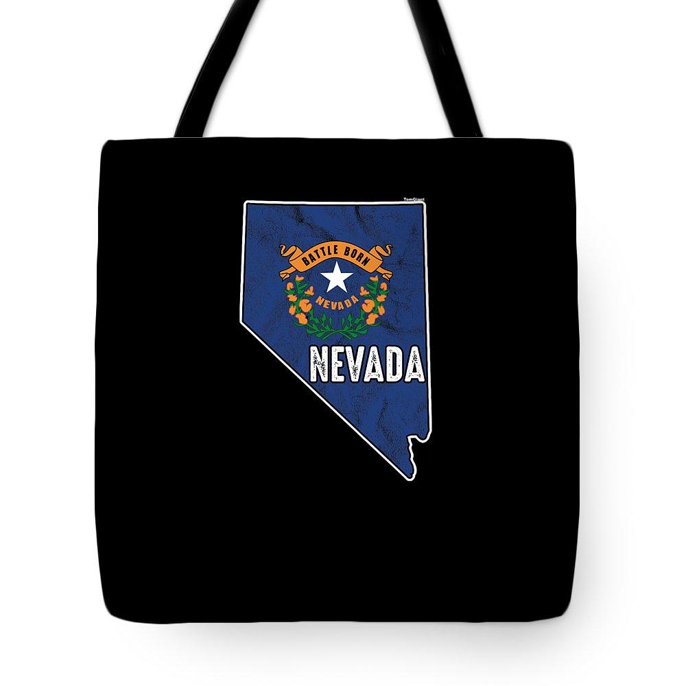 Usa Tote Bag featuring the digital art Patriotic Nevadan Nevada Flag Nationalism Usa America by Thomas Larch