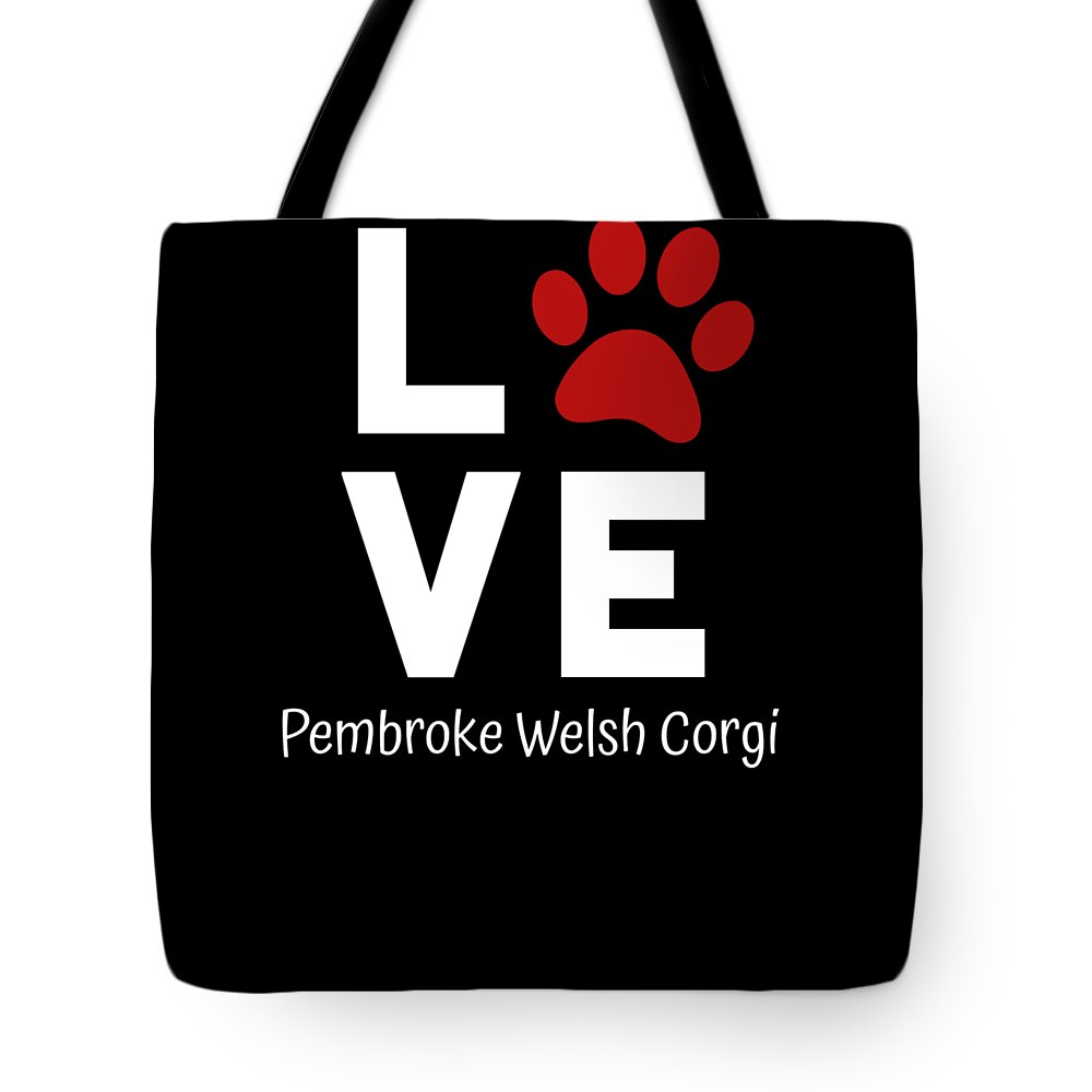 I-love-my-dog Tote Bag featuring the digital art Paw Love Pembroker Welsh Corgi by DogBoo