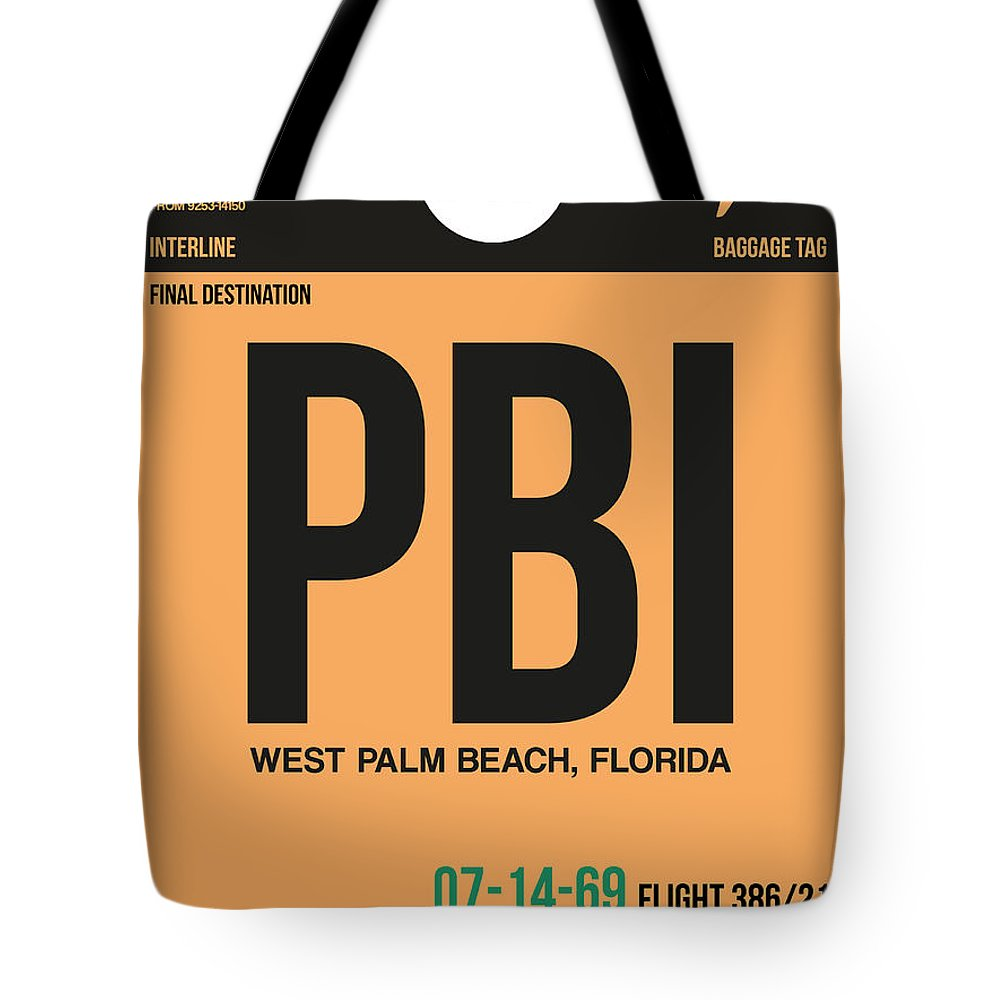 Vacation Tote Bag featuring the digital art Pbi West Palm Beach Luggage Tag I by Naxart Studio