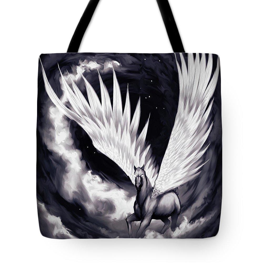 Pegasus Tote Bag featuring the painting Pegasus by Sami Matilainen