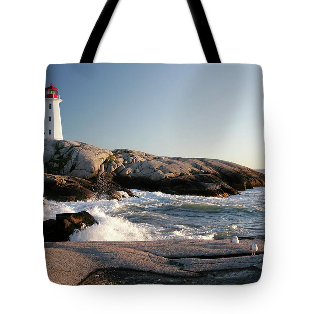 Water's Edge Tote Bag featuring the photograph Peggys Cove Lighthouse & Waves by Cworthy