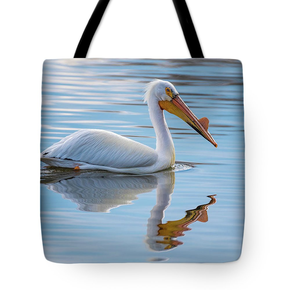 Bird Tote Bag featuring the photograph Pelican Reflection by Gary Kochel