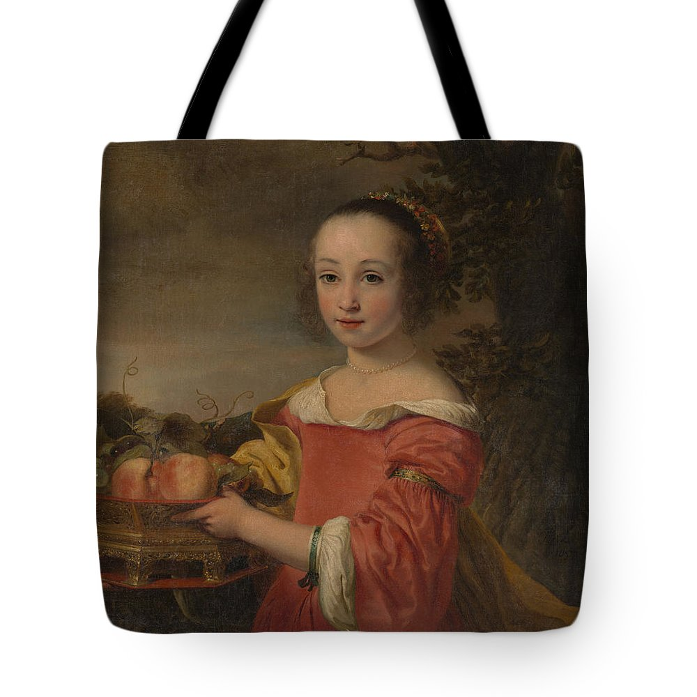 Ferdinand Bol Tote Bag featuring the painting Petronella Elias    With A Basket Of Fruit by Ferdinand Bol