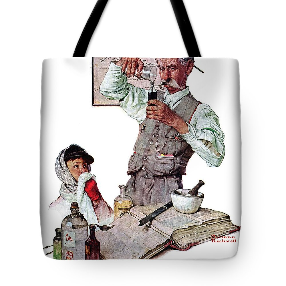 Boy Tote Bag featuring the drawing Pharmacist by Norman Rockwell