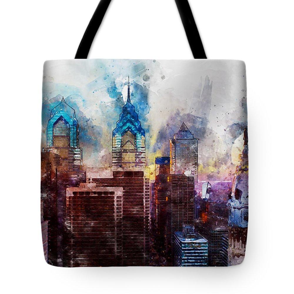 Philadelphia Tote Bag featuring the painting Philadelphia, Pennsylvania - 01 by Andrea Mazzocchetti