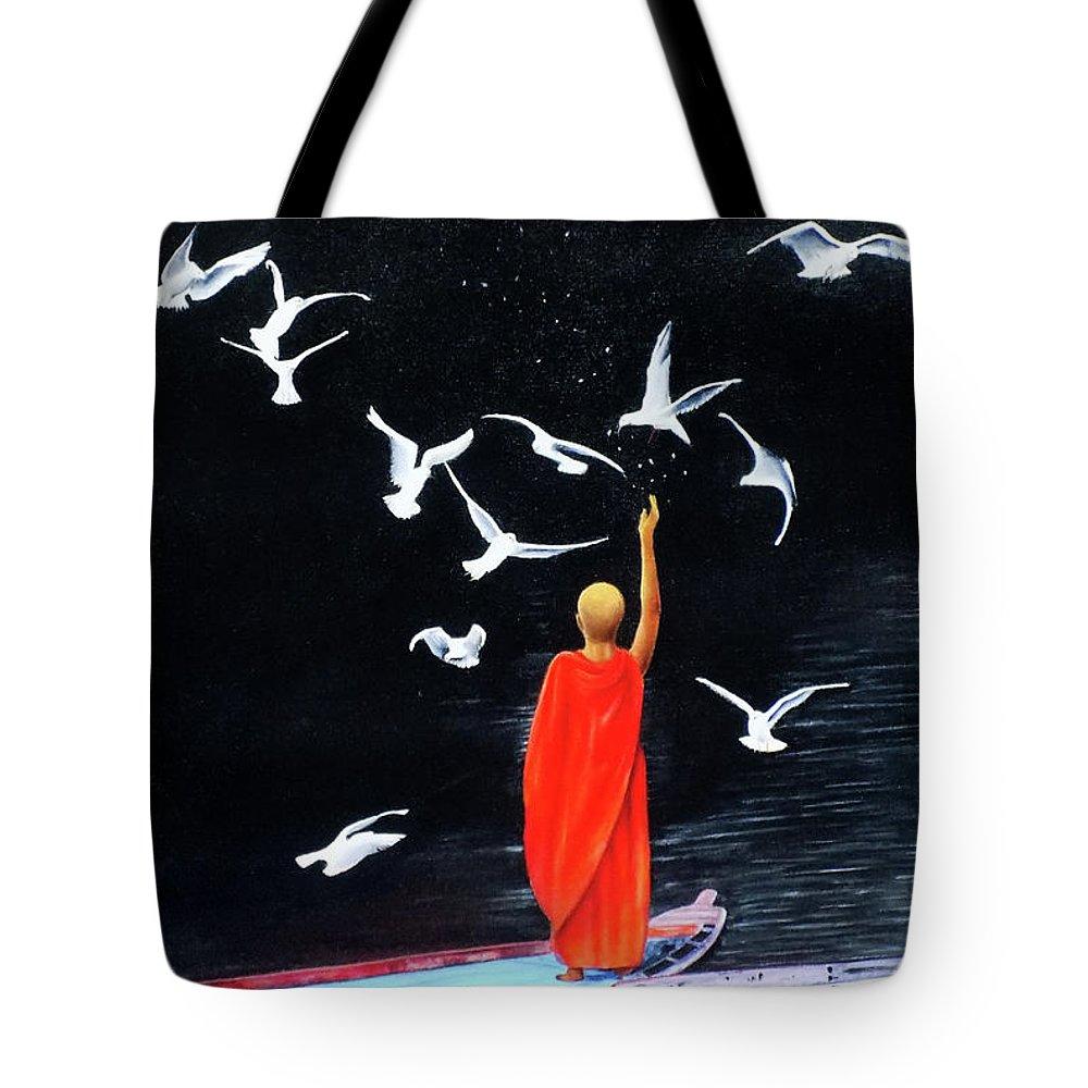 Canvas Tote Bag featuring the painting Philia by Kamaldeep Kaur