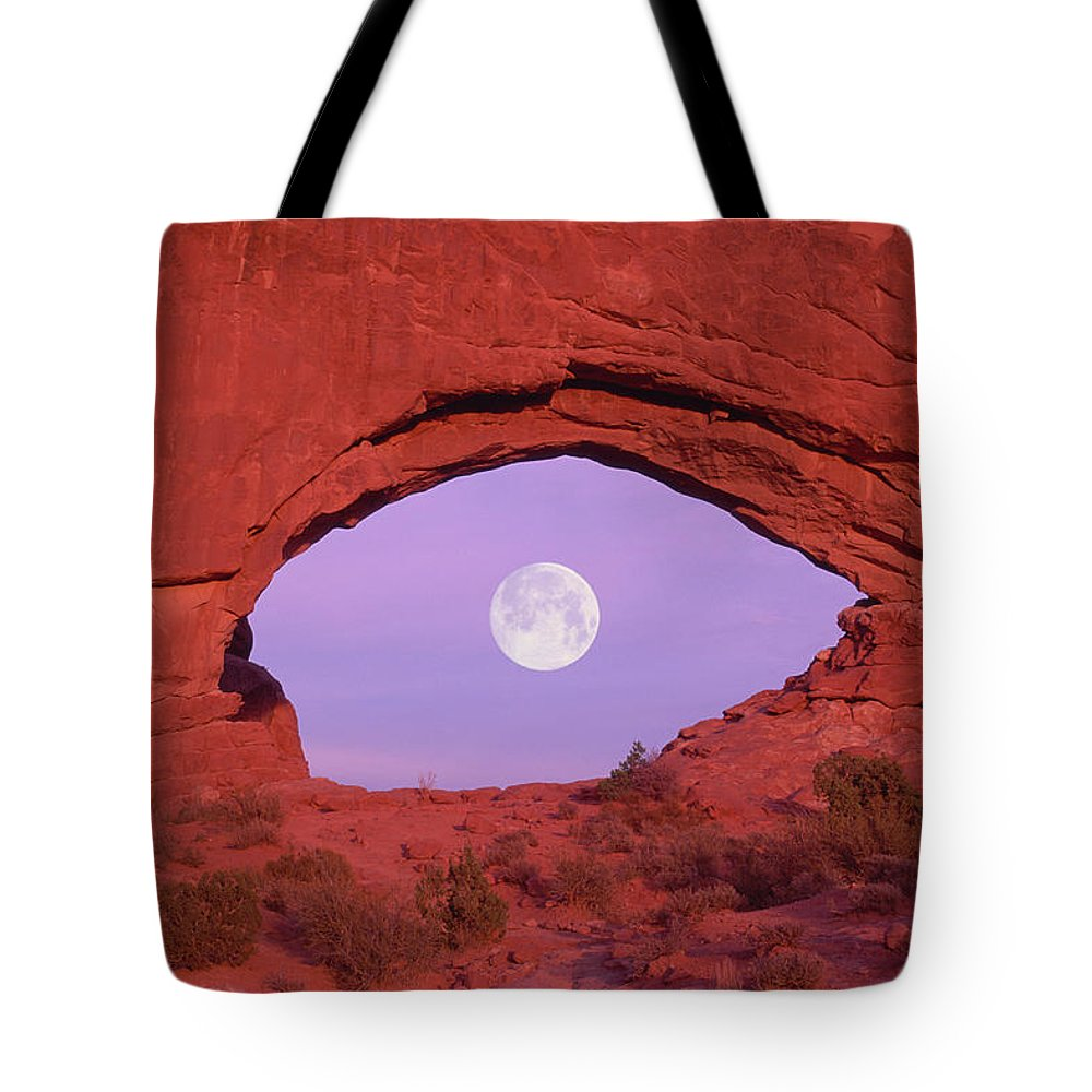 Scenics Tote Bag featuring the photograph Photographer At Window At Arches by Grant Faint