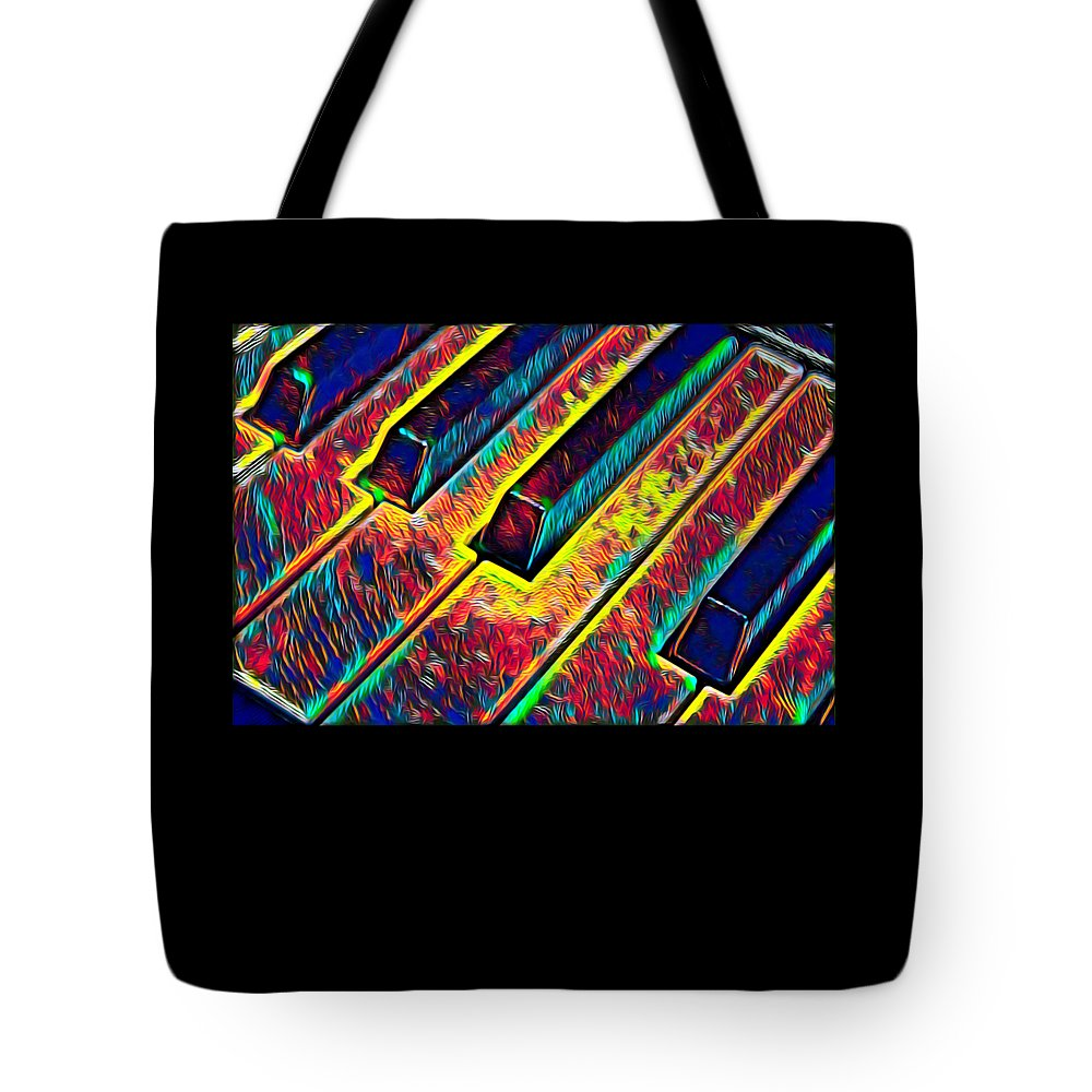 Cool Tote Bag featuring the digital art Piano Keys Musican Player Music Notes Gift Color Design by Super Katillz
