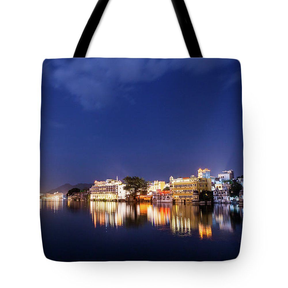 Tranquility Tote Bag featuring the photograph Pichola Lake Night View by Greenlin