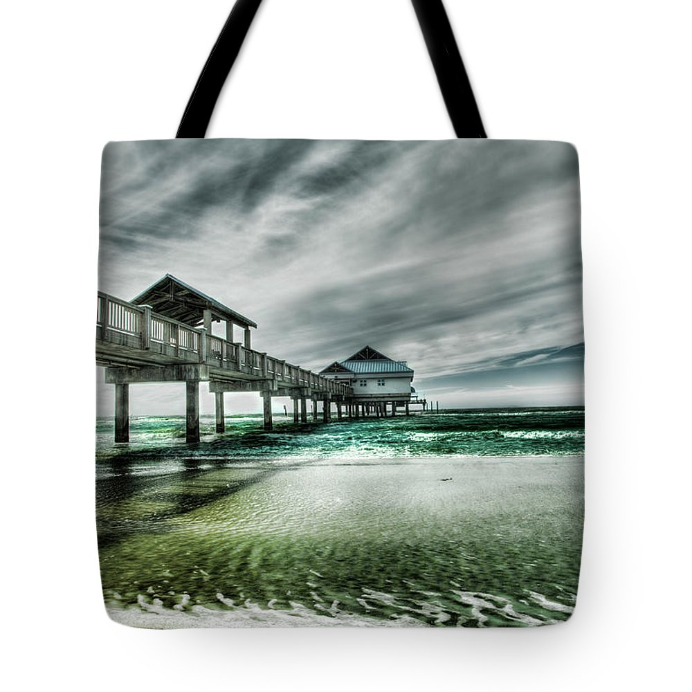 Water's Edge Tote Bag featuring the photograph Pier by Chumbley Photography