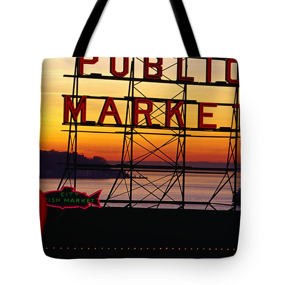 Ferry Tote Bag featuring the photograph Pike Place Market Sign, Seattle by Lonely Planet