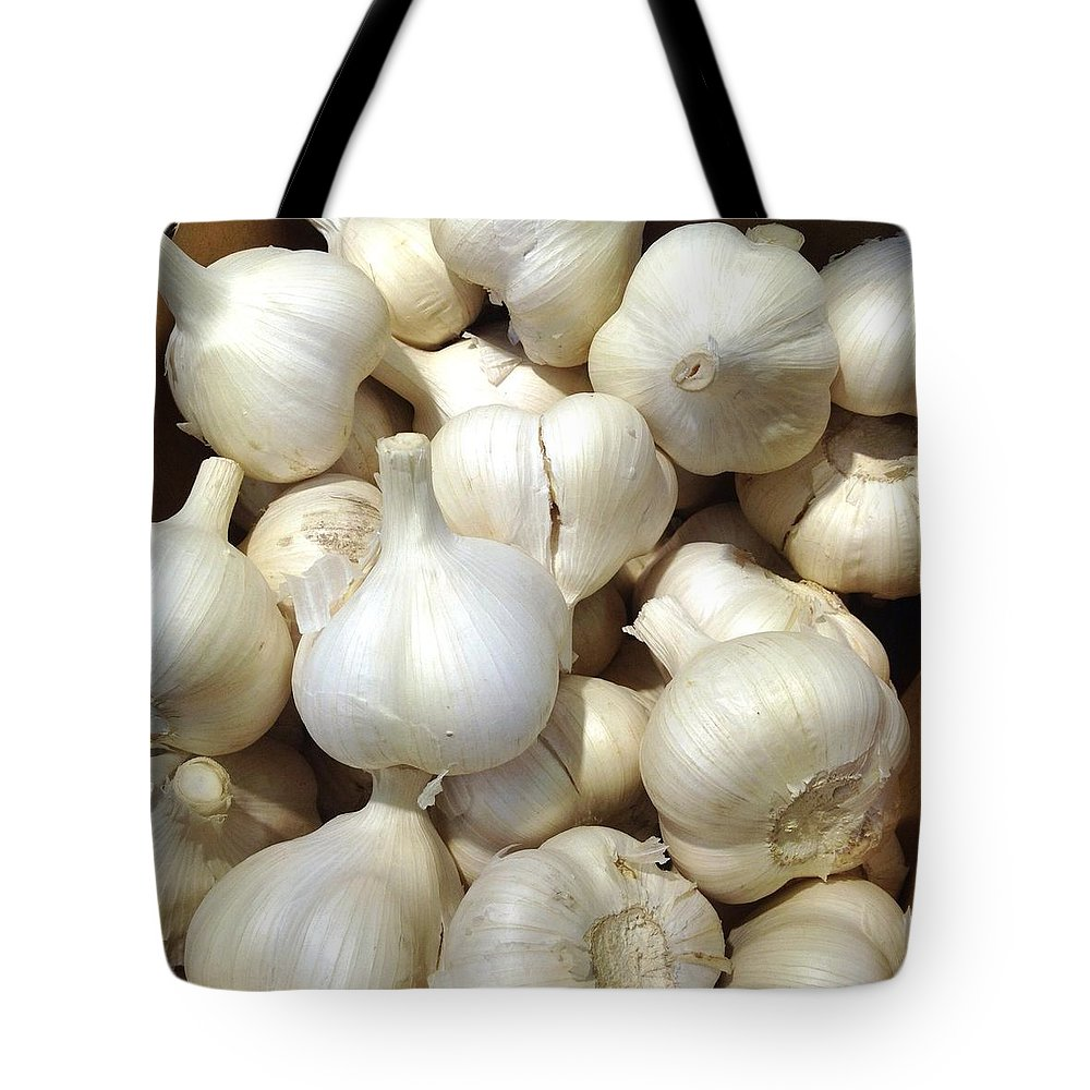 Heap Tote Bag featuring the photograph Pile Of Garlic by Digipub