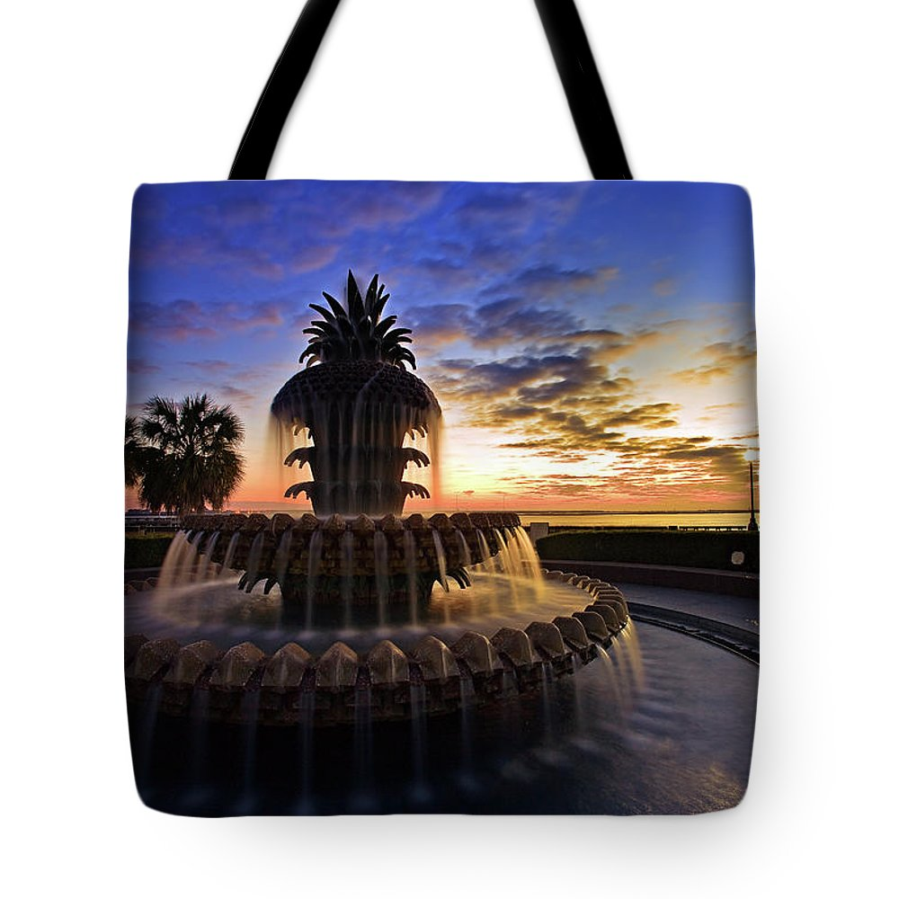 Tranquility Tote Bag featuring the photograph Pineapple Fountain In Charleston by Sam Antonio Photography