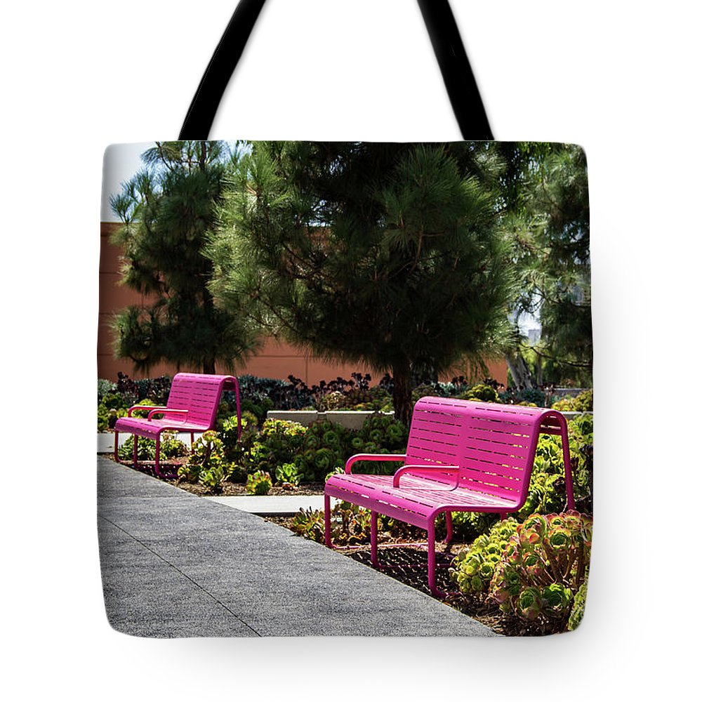 Grand Park Tote Bag featuring the photograph Pink Chairs At Grand Park by Roslyn Wilkins