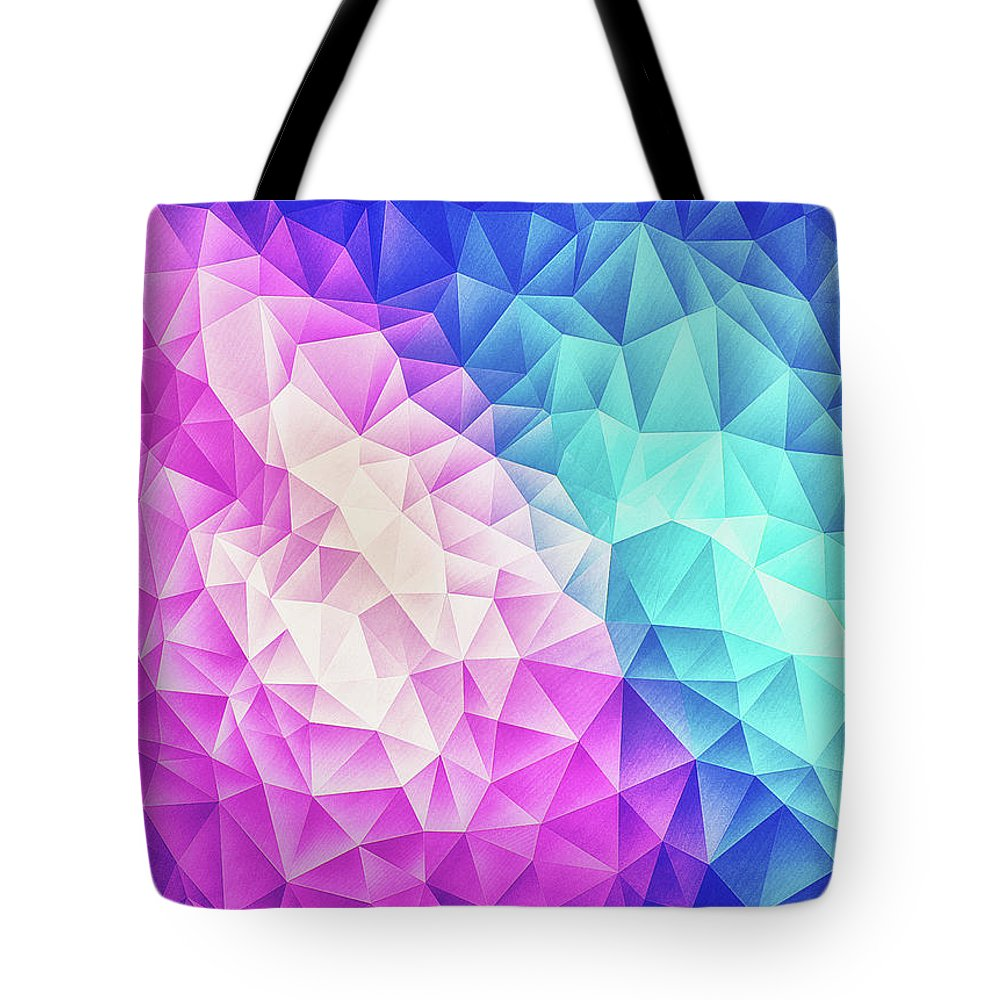 Colorful Tote Bag featuring the digital art Pink Ice Blue Abstract Polygon Crystal Cubism Low Poly Triangle Design by Philipp Rietz