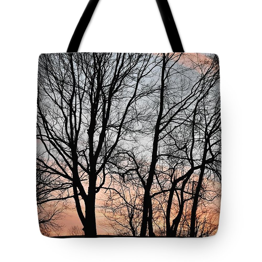 Trees Tote Bag featuring the photograph Pink Sky by Cassidy Marshall