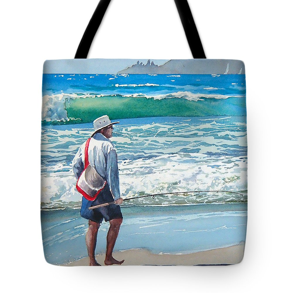 Beach.pismo Beach.ocean Tote Bag featuring the painting Pismo Fisherman by Philip Fleischer