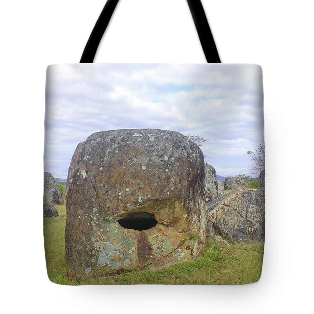 Plain Tote Bag featuring the photograph Plain Of Jars by Duang NGEUNTHEPPHADA