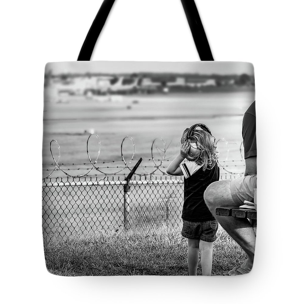 Child Tote Bag featuring the photograph Plane Watching by Ant Pruitt