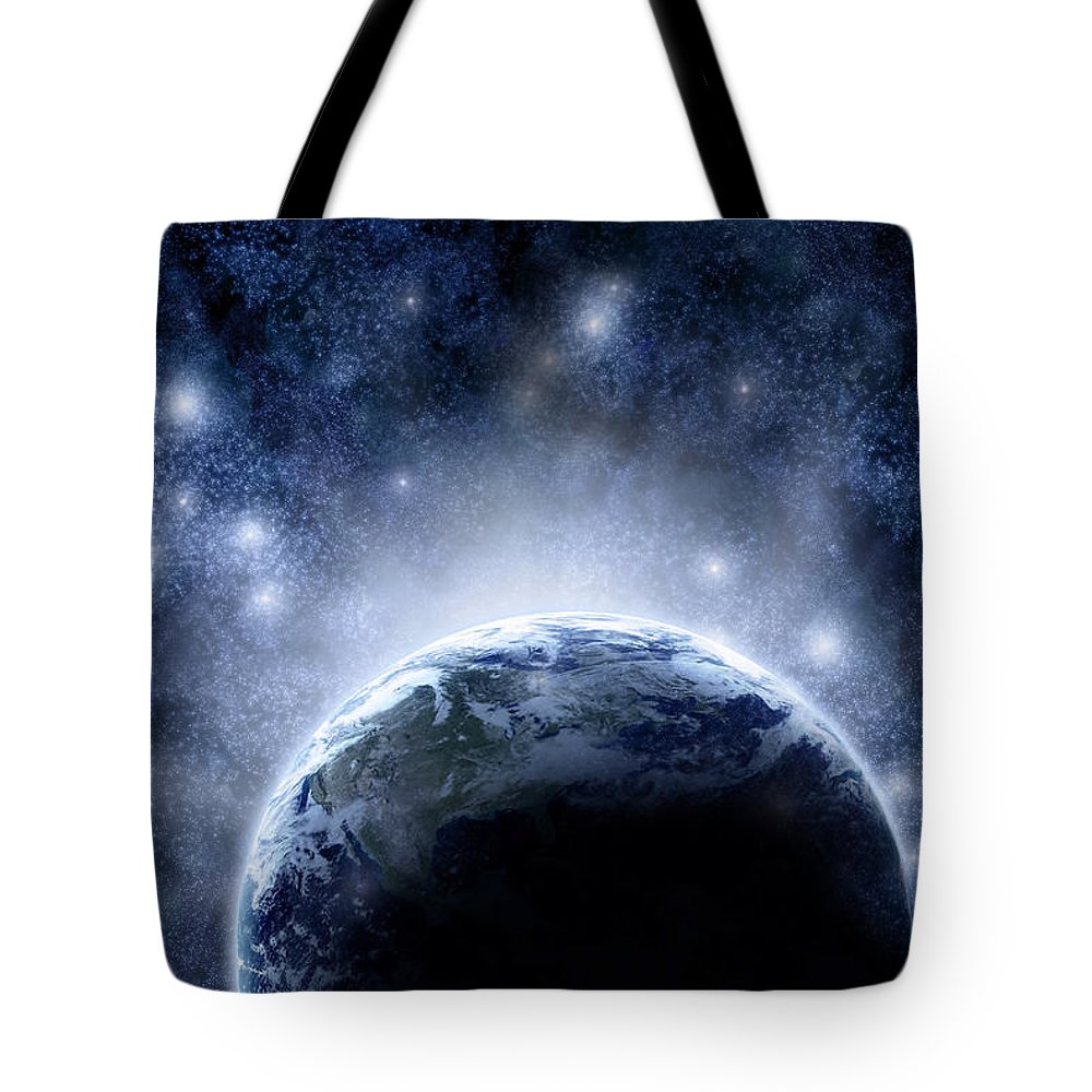 Outdoors Tote Bag featuring the digital art Planet Earth And Stars by Nicholas Monu