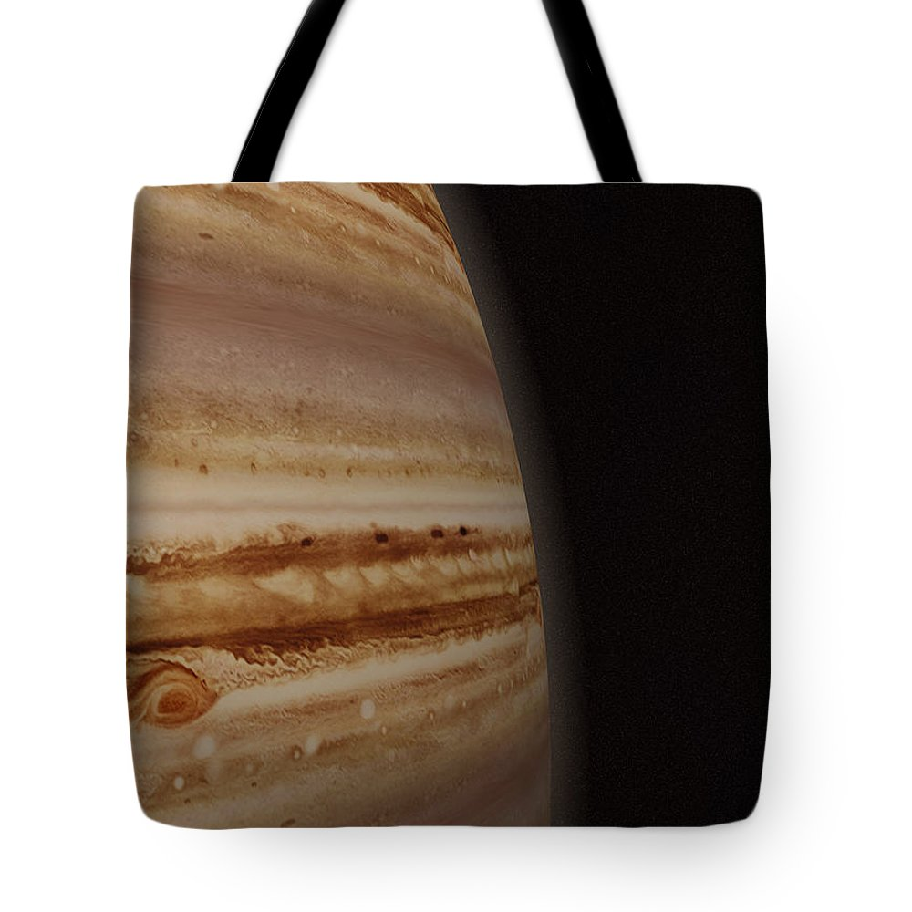 Black Color Tote Bag featuring the photograph Planet Jupiter And A Distant Moon by Jason Reed