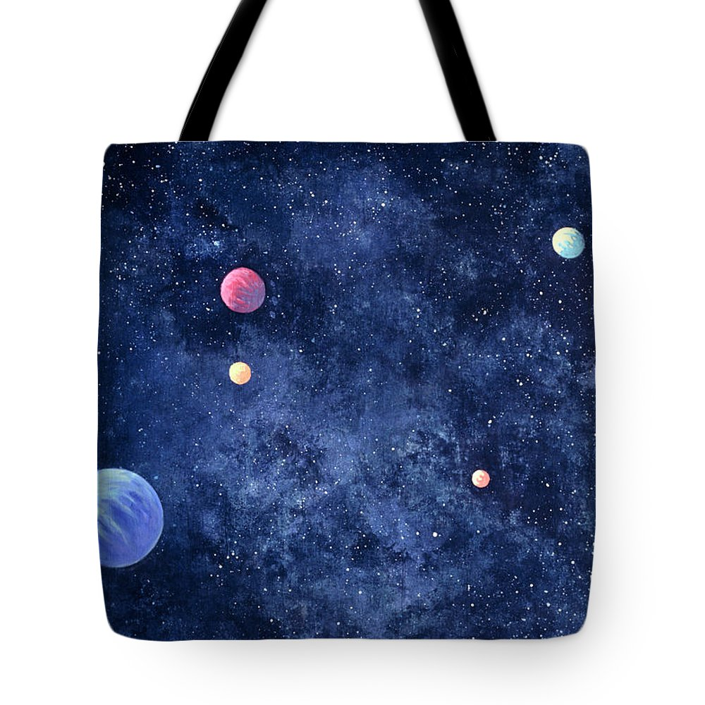 The Media Tote Bag featuring the photograph Planets In Solar System by Huntstock