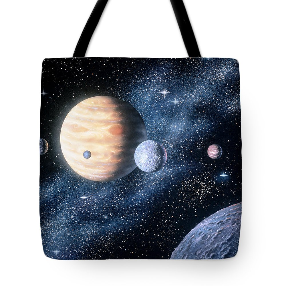 Color Image Tote Bag featuring the digital art Planets by Shilo Sports