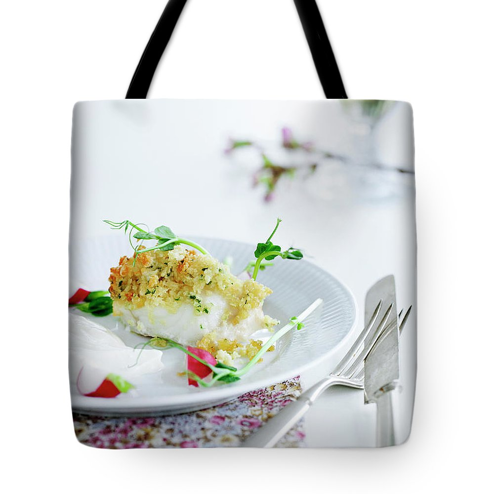 White Background Tote Bag featuring the photograph Plate Of Crusted Fish by Line Klein