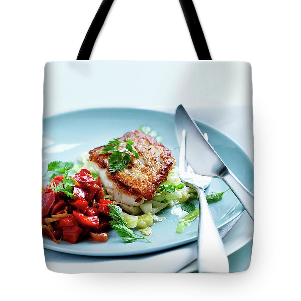 White Background Tote Bag featuring the photograph Plate Of Fried Fish And Salad by Line Klein