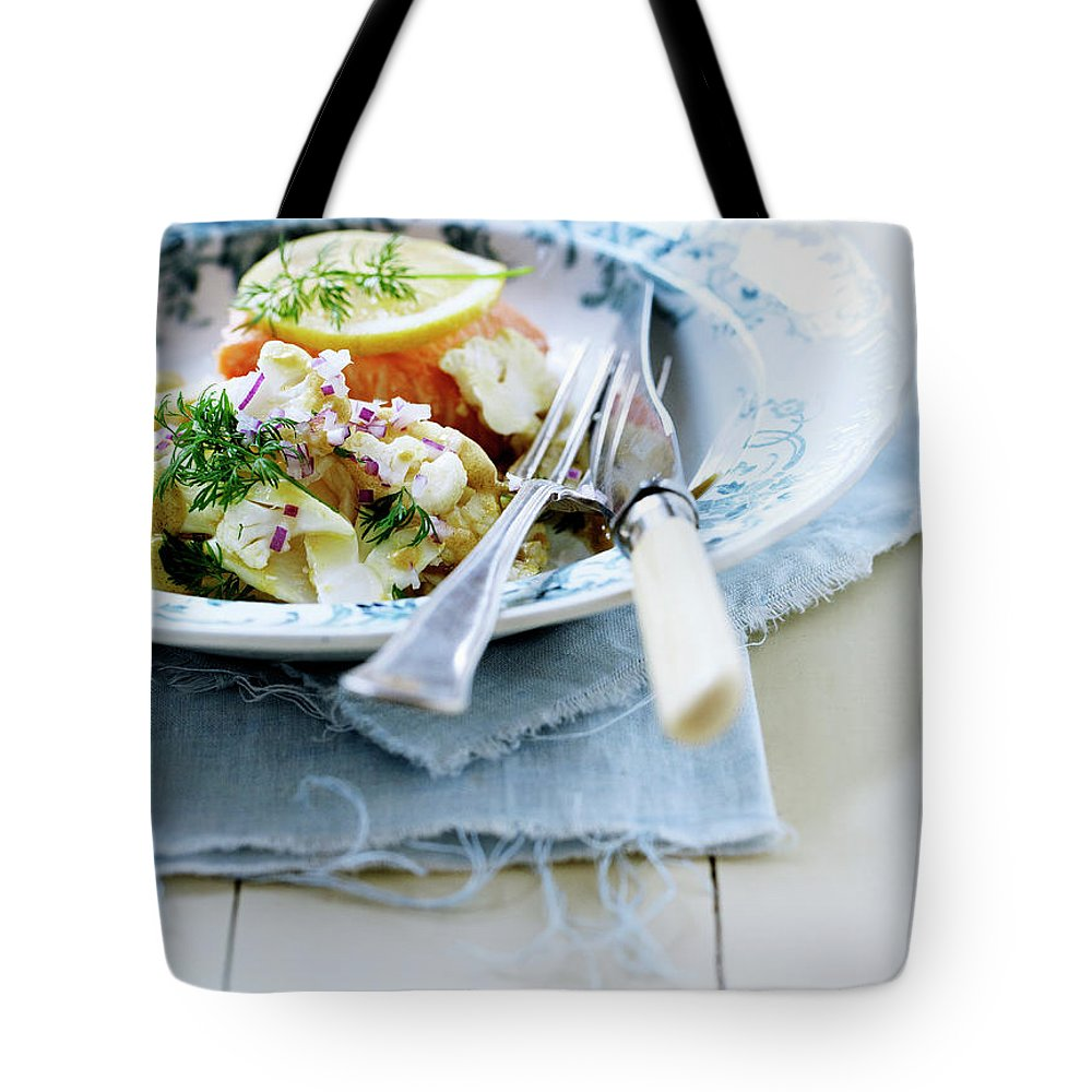 Copenhagen Tote Bag featuring the photograph Plate Of Pasta With Fish by Line Klein