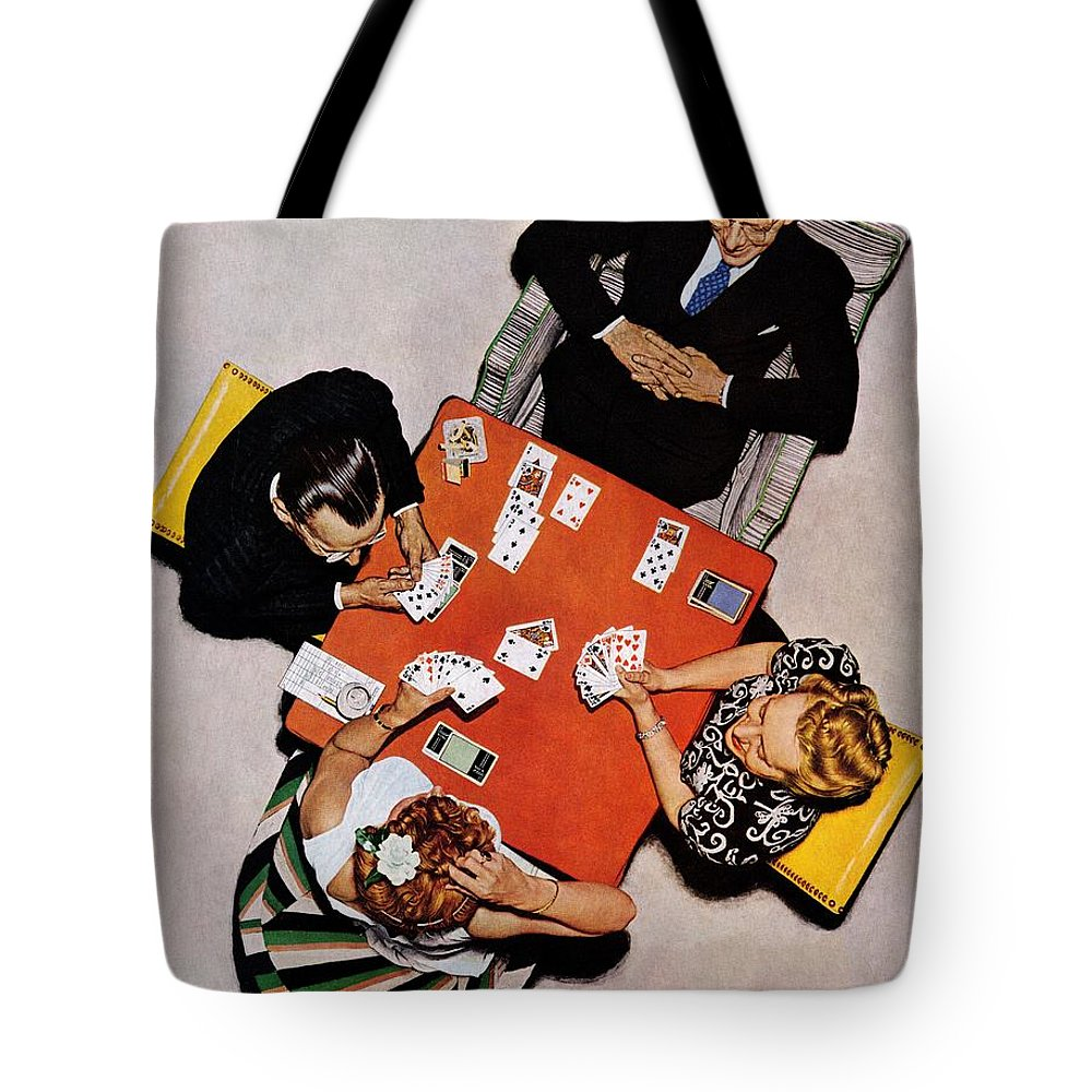 Bridge Tote Bag featuring the drawing Playing Cards by Norman Rockwell
