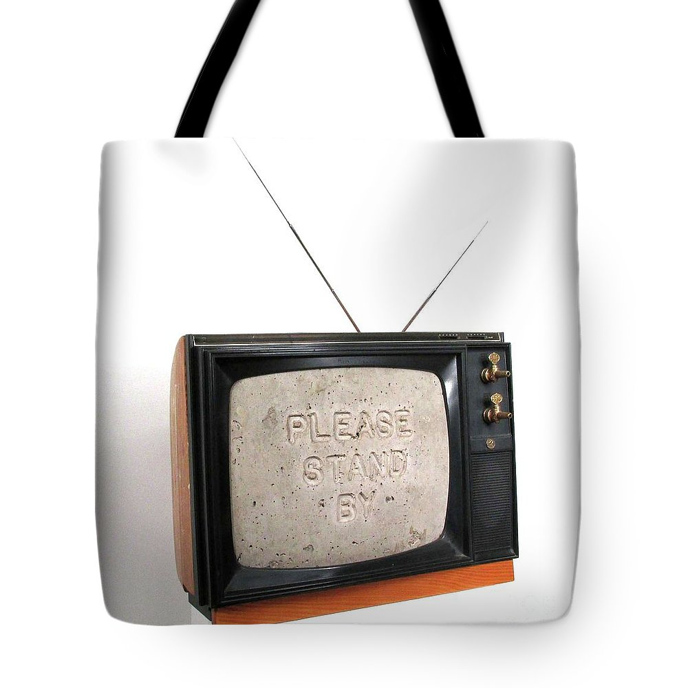Czappa Tote Bag featuring the sculpture Please Stand by by Bill Czappa