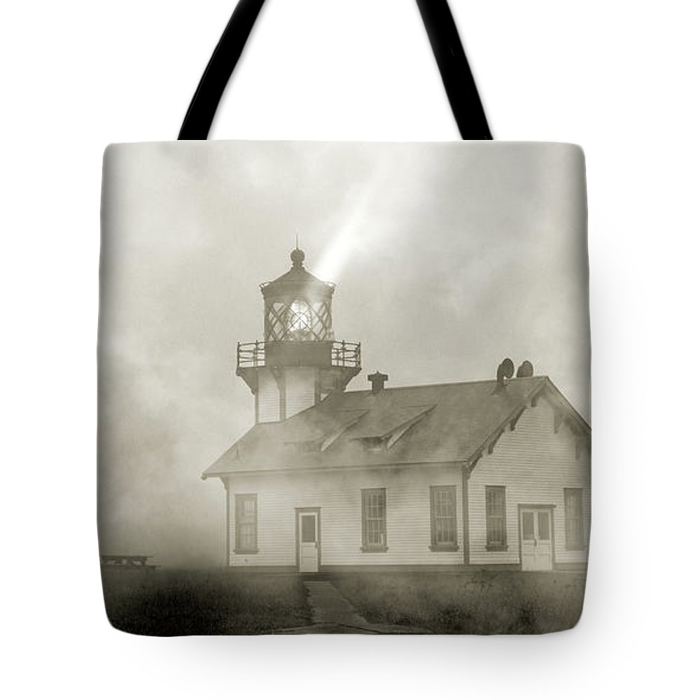 Lighthouse Tote Bag featuring the photograph Point Cabrillo Lighthouse California Sepia by Betsy Knapp