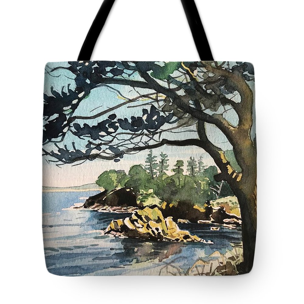 Carmel Tote Bag featuring the painting Point Lobos Bay by Luisa Millicent