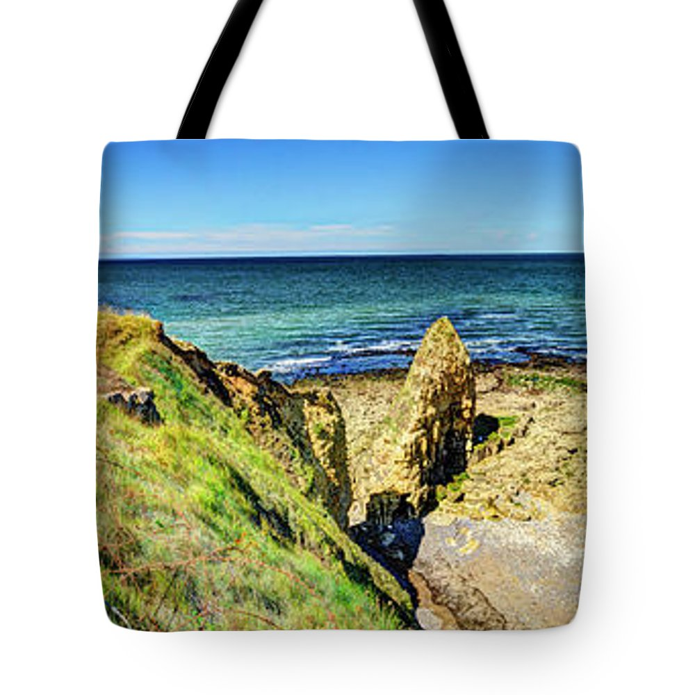 Pointe Du Hoc Tote Bag featuring the photograph Pointe Du Hoc Panorama by Weston Westmoreland