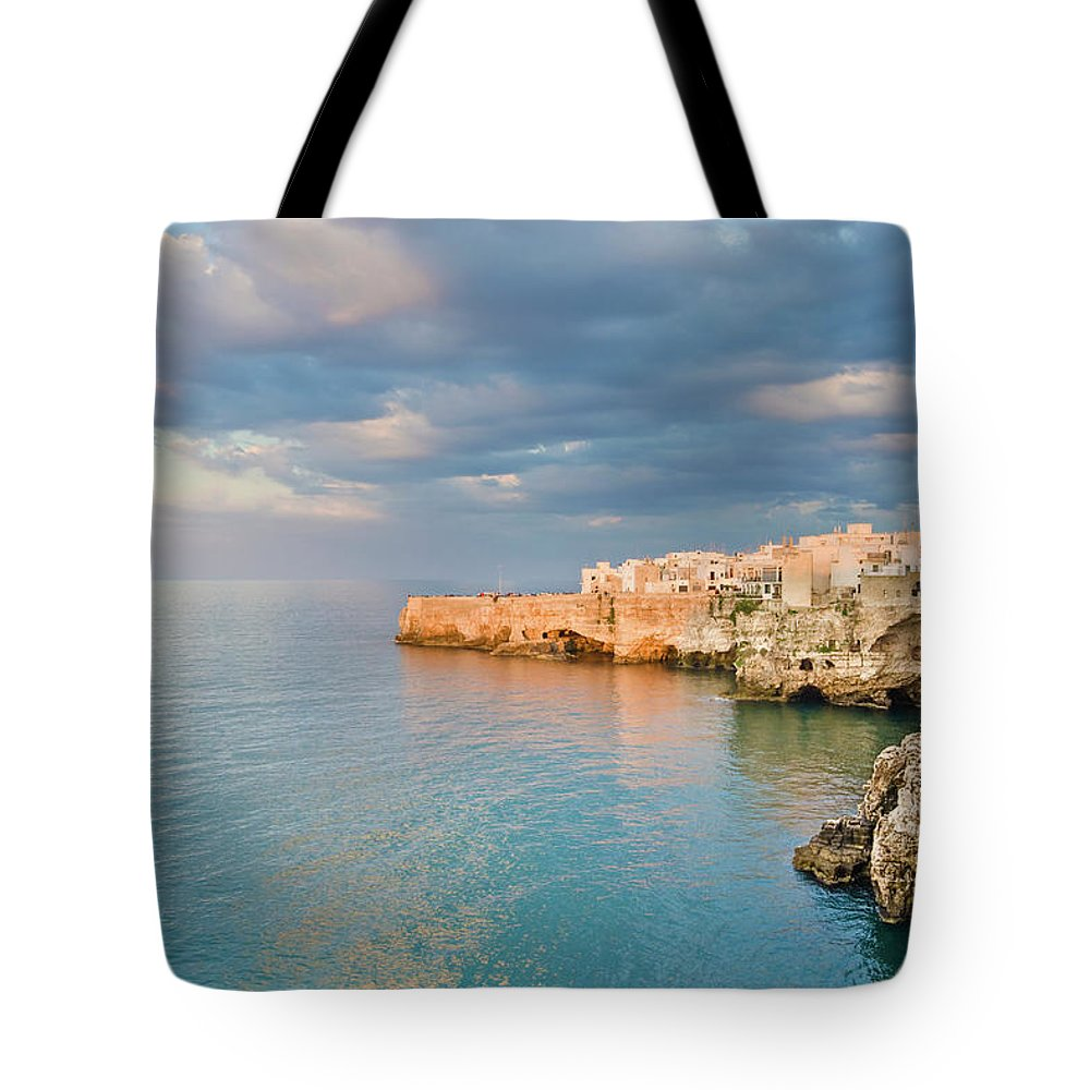 Adriatic Sea Tote Bag featuring the photograph Polignano A Mare On The Adriatic Sea by David Madison