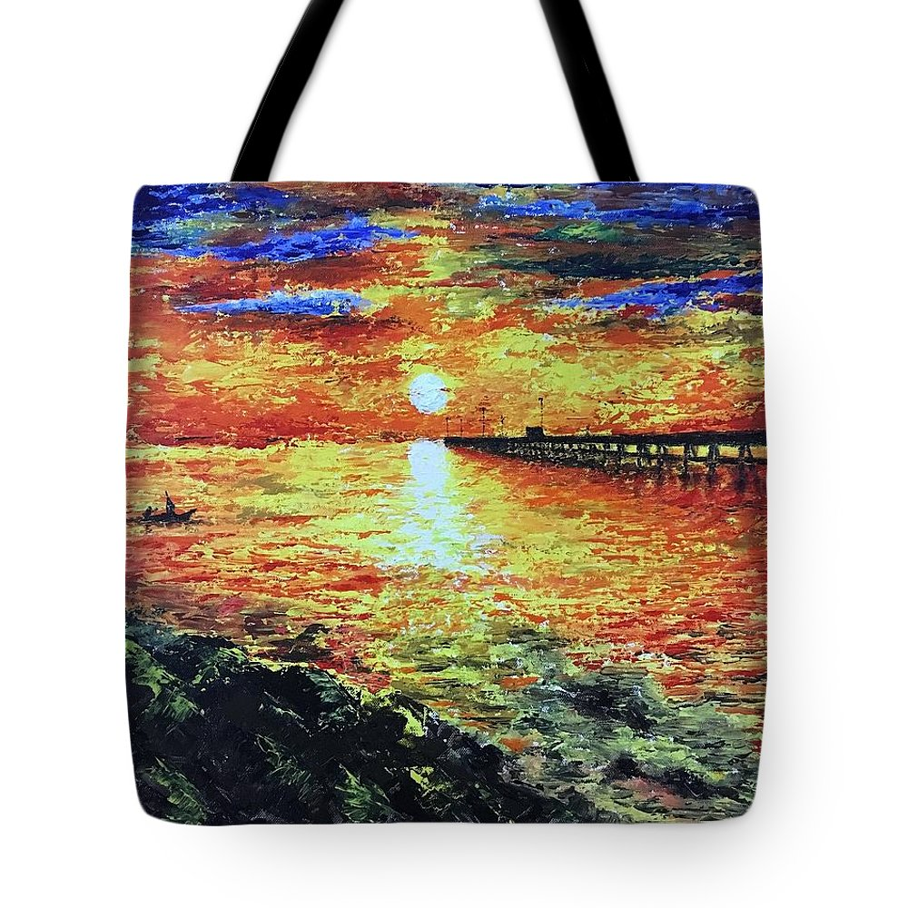 Acrylic Painting Tote Bag featuring the painting Pondicherry Beach Sunrise by Varun Rao