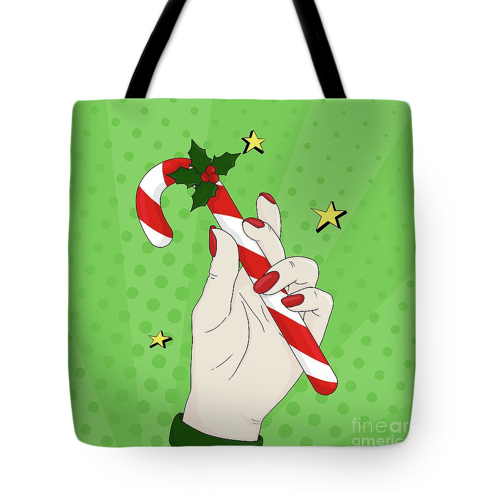 Pop Art Tote Bag featuring the digital art Pop Art Candy Cane by Valentina Hramov