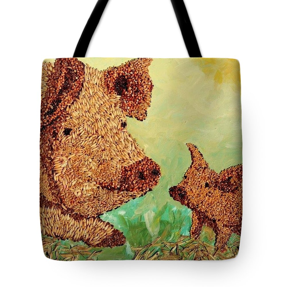 Agricultural Tote Bag featuring the mixed media Feeding Our Hogs by Naomi Gerrard