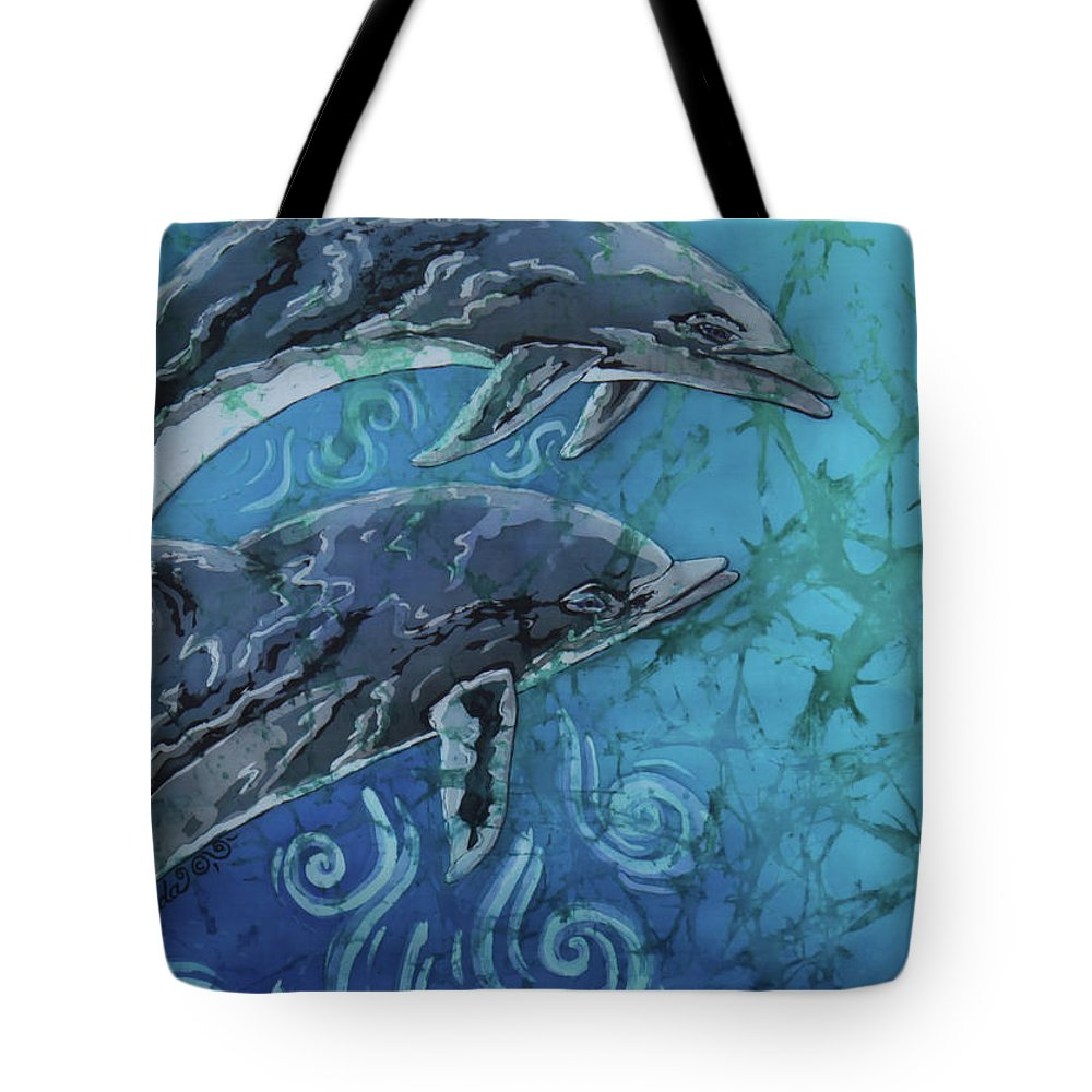 Porpoise Tote Bag featuring the painting Porpoise Pair - Close Up by Sue Duda