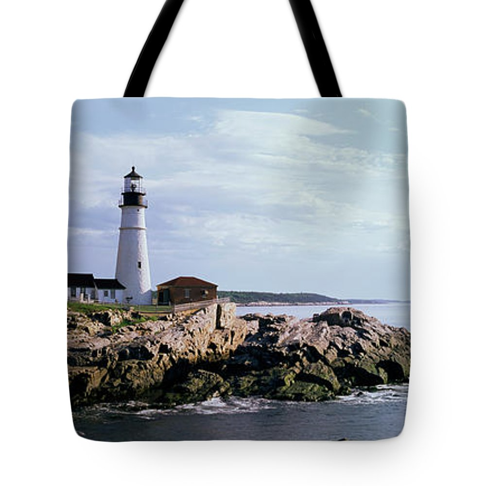 Extreme Terrain Tote Bag featuring the photograph Portland Head Lighthouse, Cape by Tony Sweet